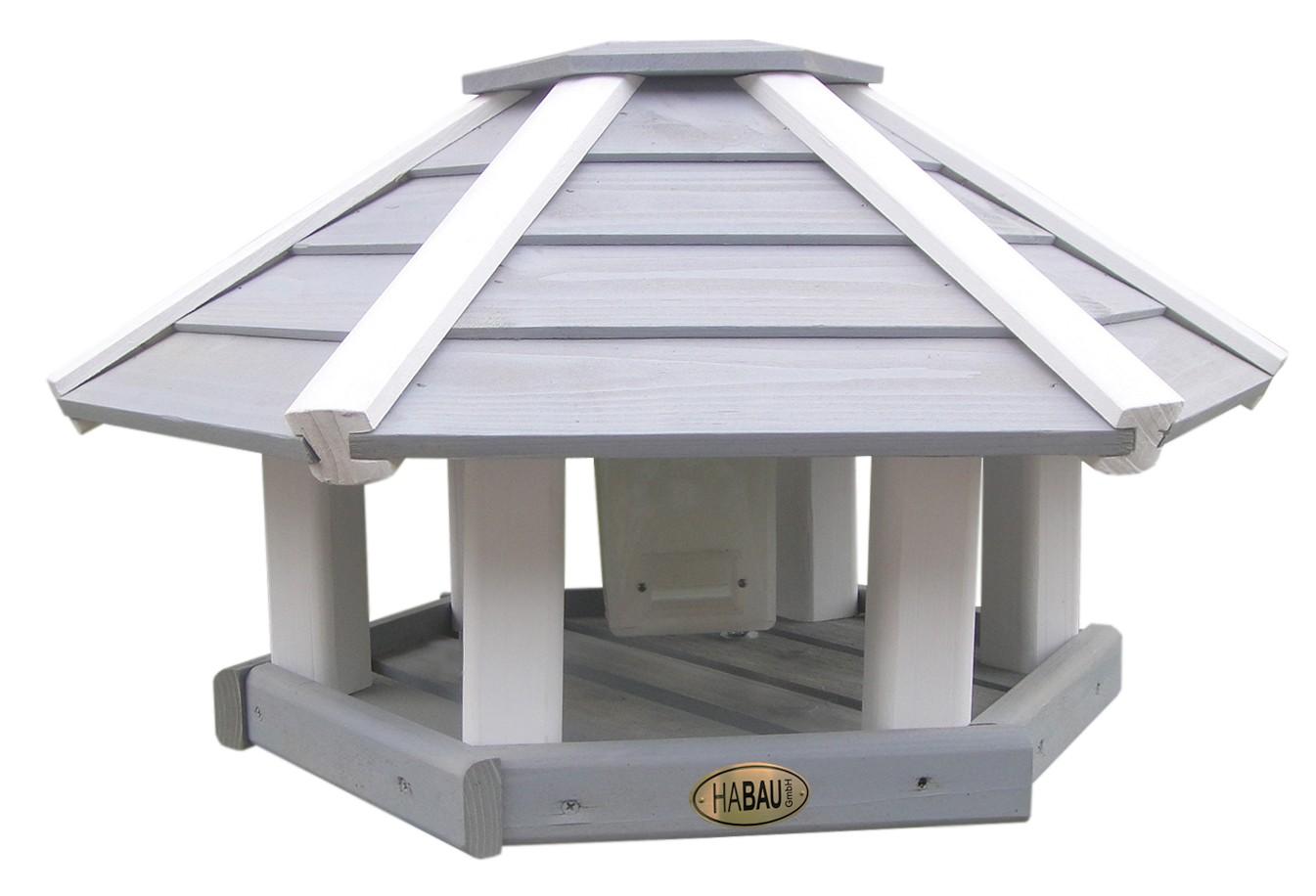 vogelhaus ottawa grau wei mit silo und st nder bei. Black Bedroom Furniture Sets. Home Design Ideas