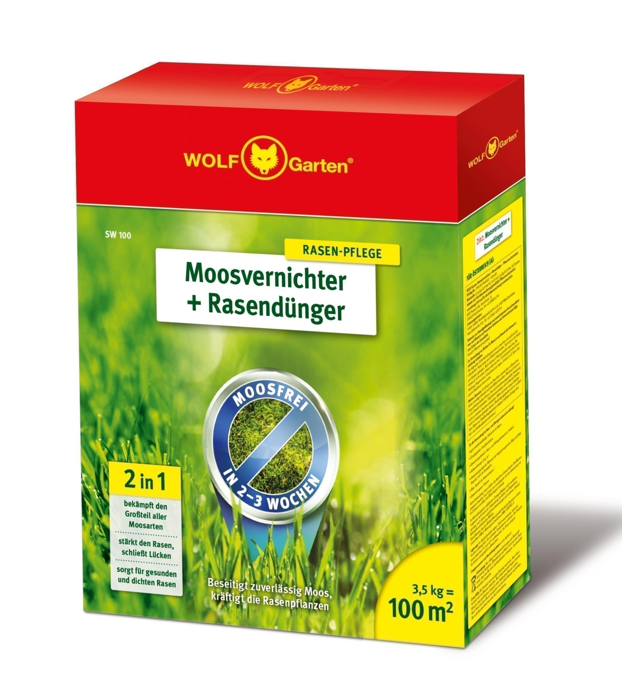 Wolf Garten 2 in 1 Moosvernichter + Rasendünger SW100 für 100m² Bild 1