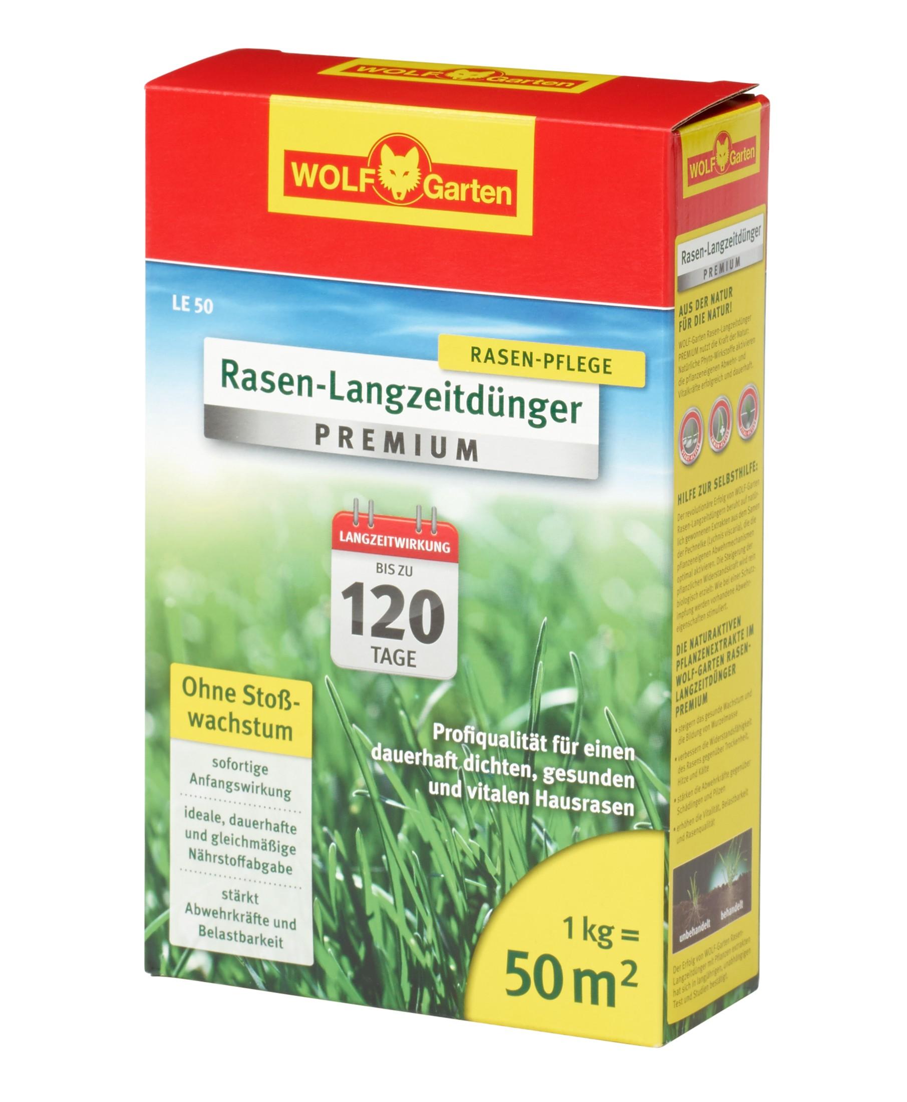 Wolf Garten Rasen Langzeitdünger Premium LE50 bis 120 Tage für 50 m² Bild 1