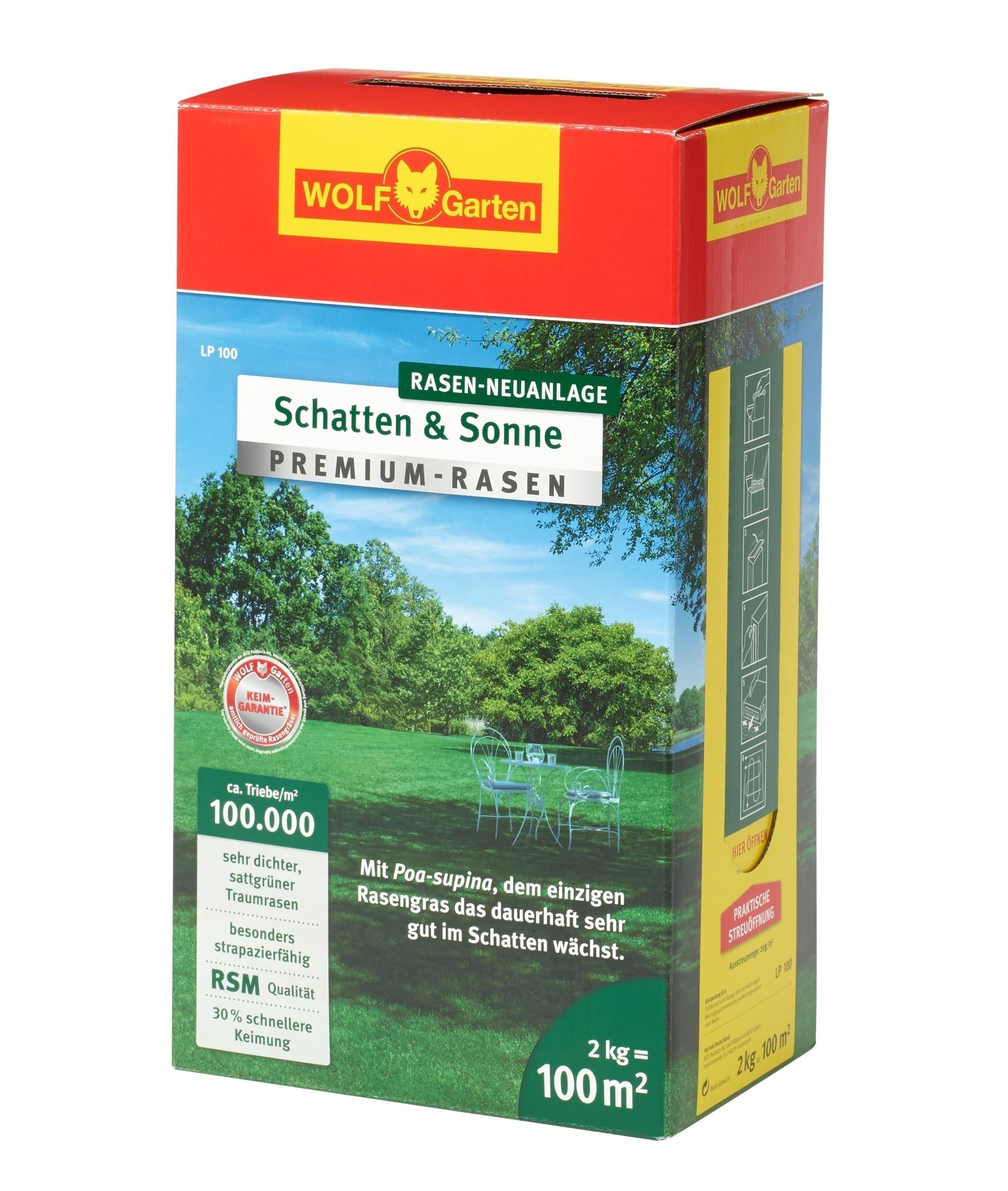 Wolf Garten Premium-Rasen Saatgut Schatten & Sonne LP100 für 100m² Bild 1