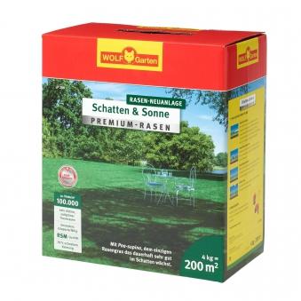 Wolf Garten Premium-Rasen Saatgut Schatten & Sonne LP200 für 200m² Bild 1