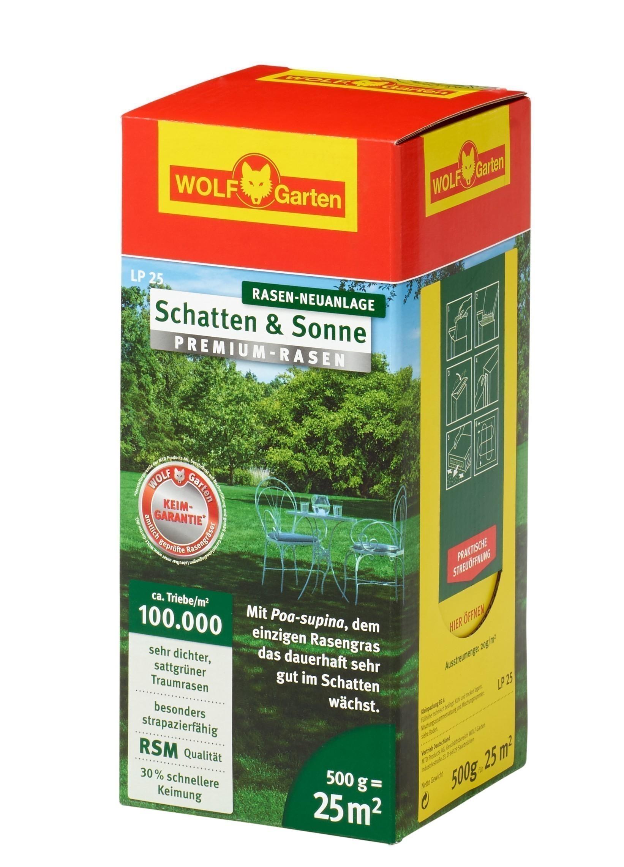 Wolf Garten Premium-Rasen Saatgut Schatten & Sonne LP25 für 25m² Bild 1