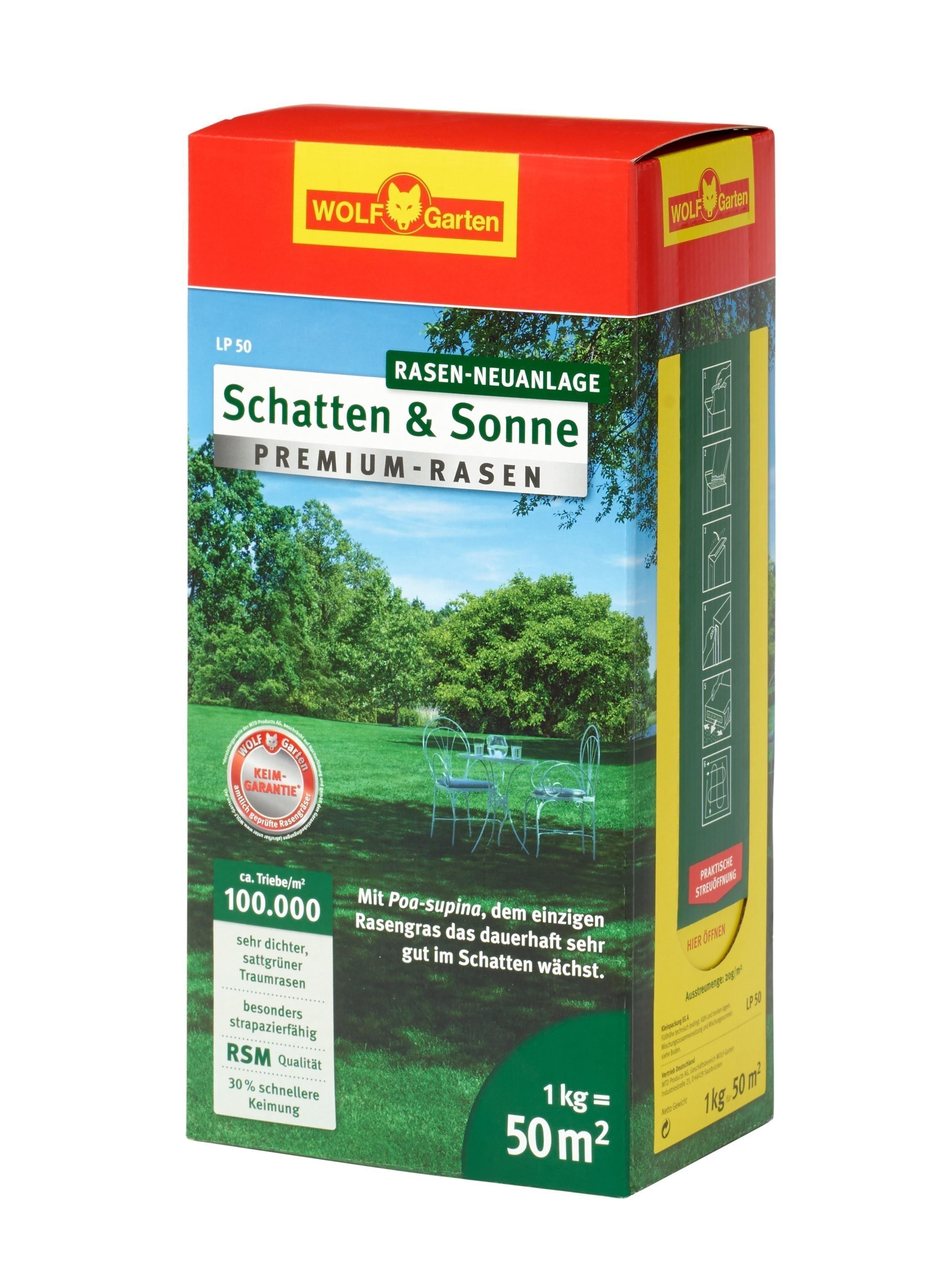 Wolf Garten Premium-Rasen Saatgut Schatten & Sonne LP50 für 50m² Bild 1