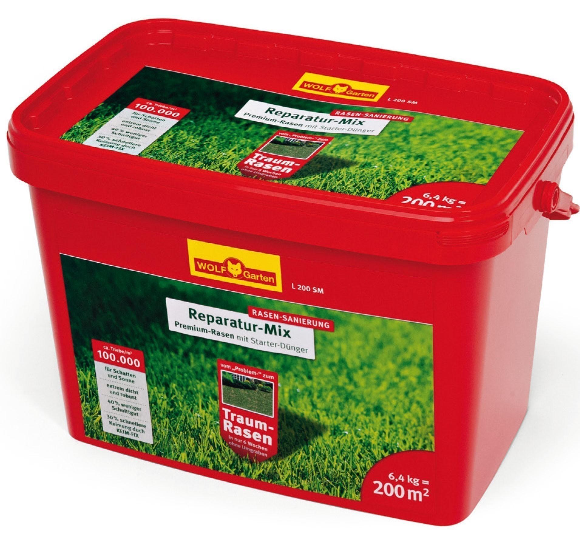 Wolf Garten Premium-Rasen mit Starter Dünger Sanierung L200SM f. 200m² Bild 1