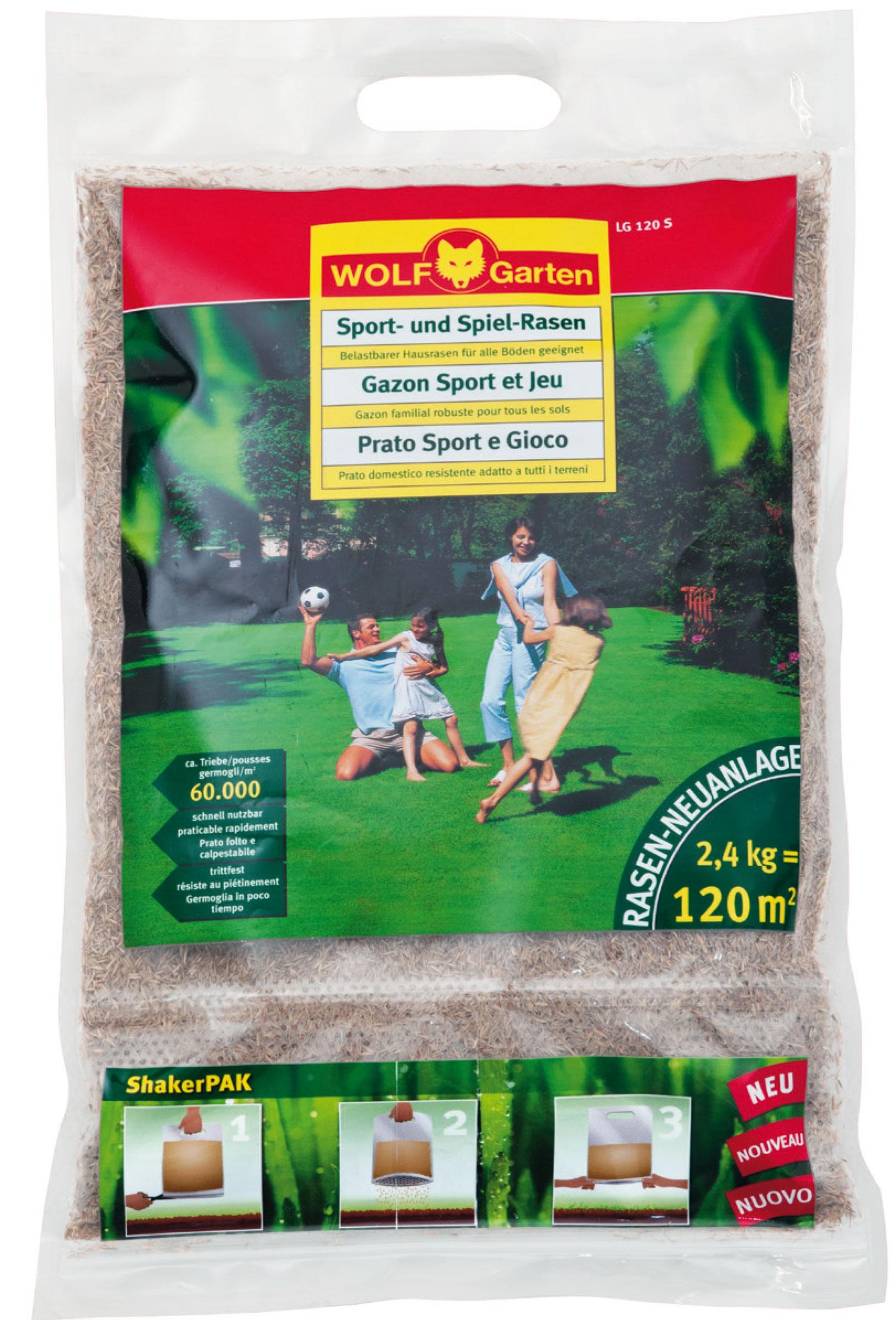 Wolf Garten Rasensamen / Saatgut für Sport-Spiel Rasen LG120S f. 120m² Bild 1